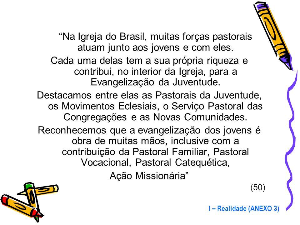 Na Igreja do Brasil, muitas forças pastorais atuam junto aos jovens e com eles.