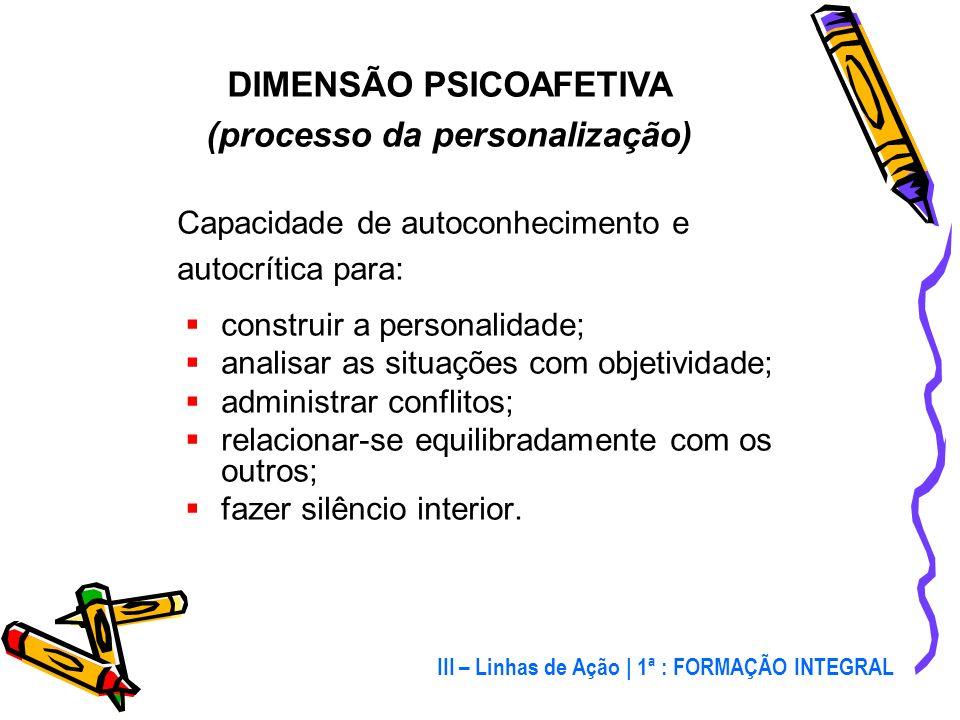 DIMENSÃO PSICOAFETIVA (processo da personalização)
