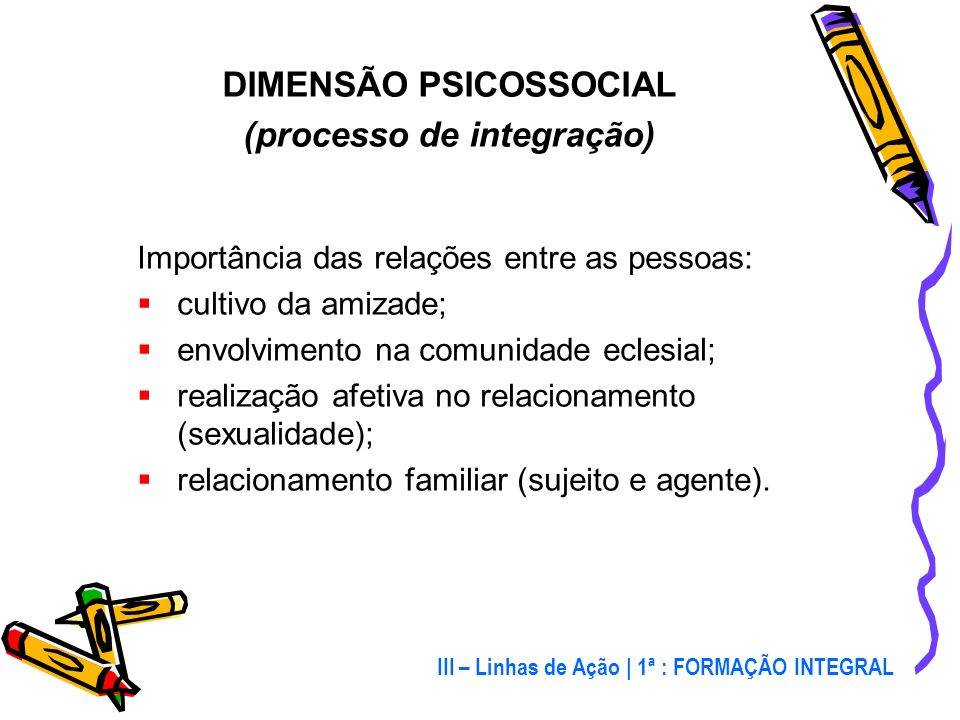 DIMENSÃO PSICOSSOCIAL (processo de integração)