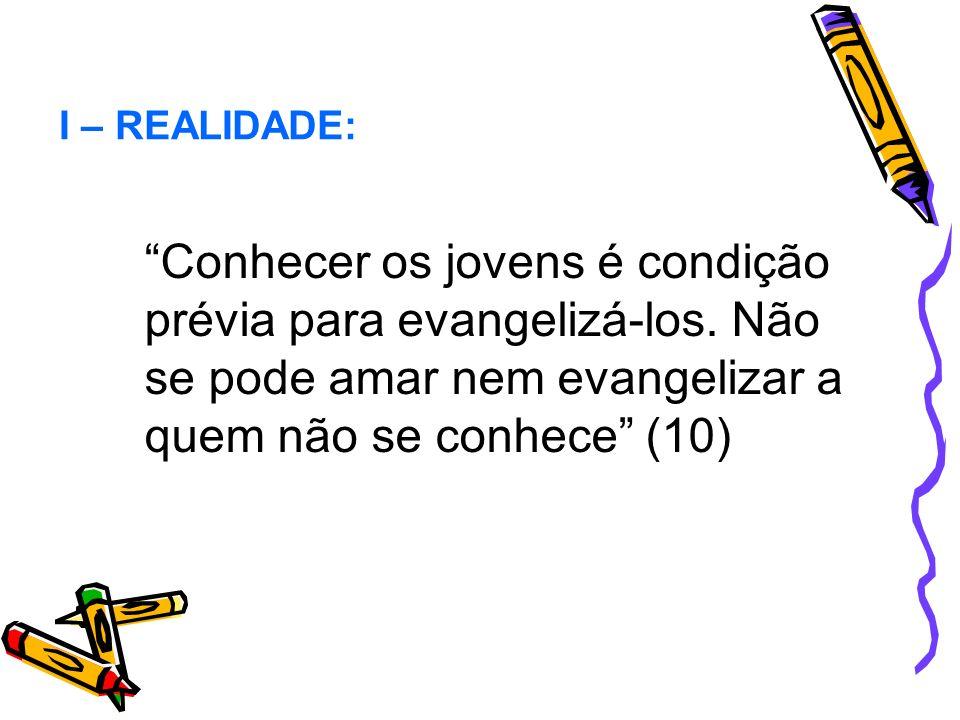 I – REALIDADE: Conhecer os jovens é condição prévia para evangelizá-los.
