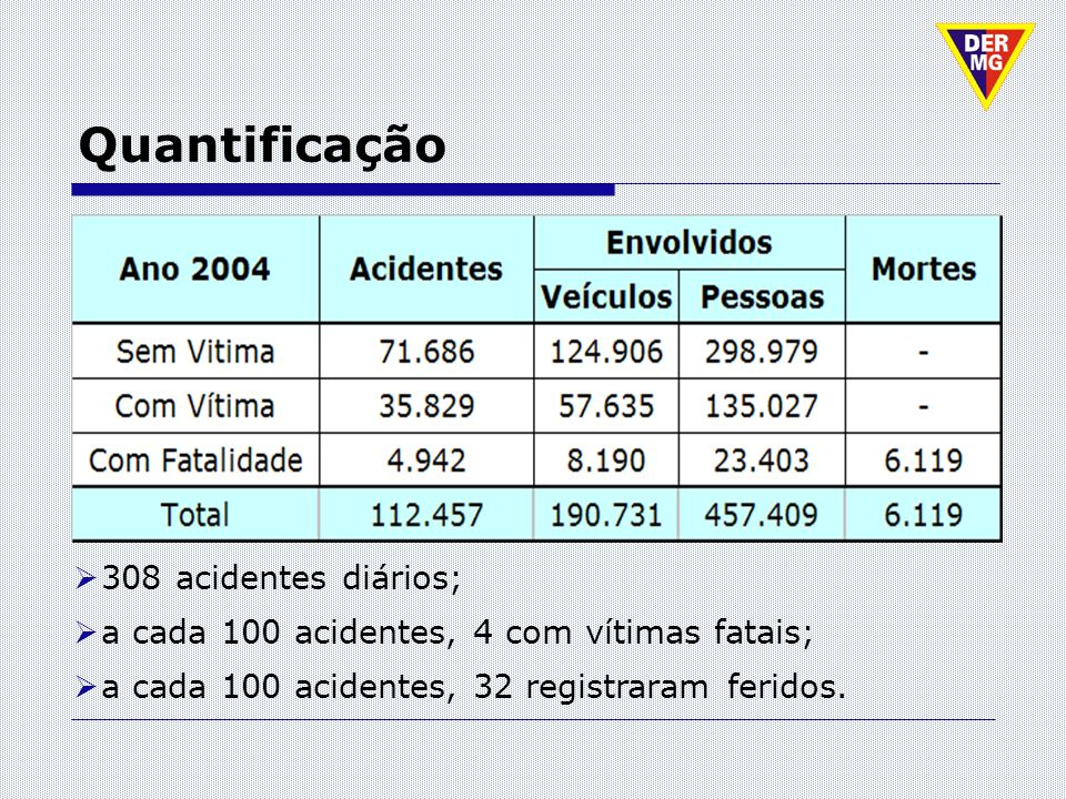 Quantificação 308 acidentes diários;