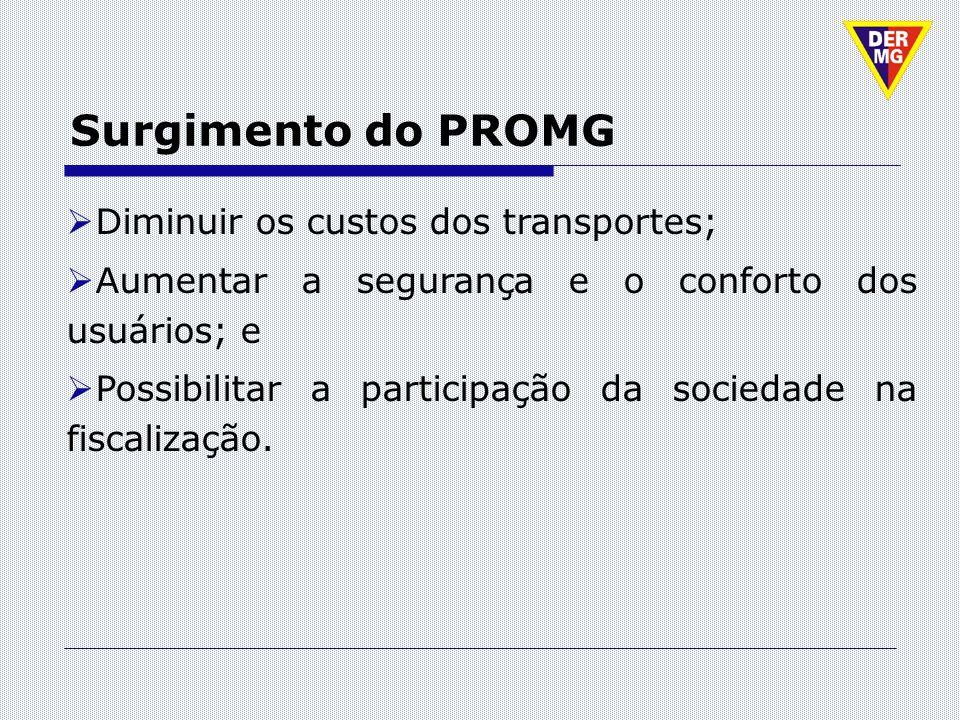 Surgimento do PROMG Diminuir os custos dos transportes;