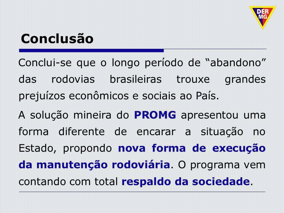 Conclusão Conclui-se que o longo período de abandono das rodovias brasileiras trouxe grandes prejuízos econômicos e sociais ao País.