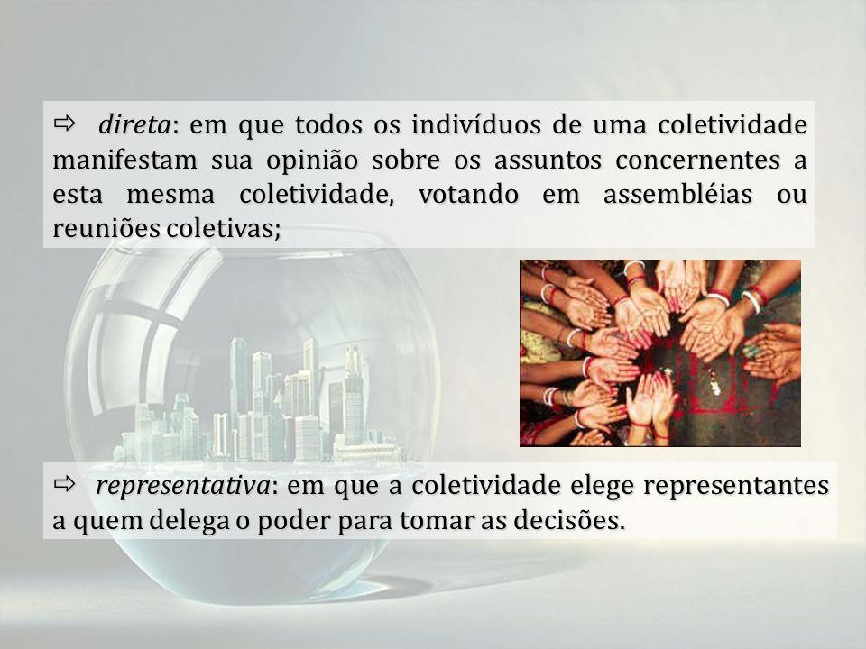  direta: em que todos os indivíduos de uma coletividade manifestam sua opinião sobre os assuntos concernentes a esta mesma coletividade, votando em assembléias ou reuniões coletivas;