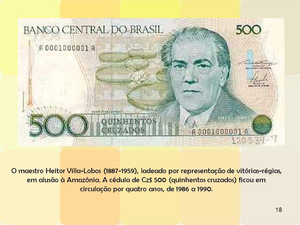 O maestro Heitor Villa-Lobos (1887-1959), ladeado por representação de vitórias-régias, em alusão à Amazônia.