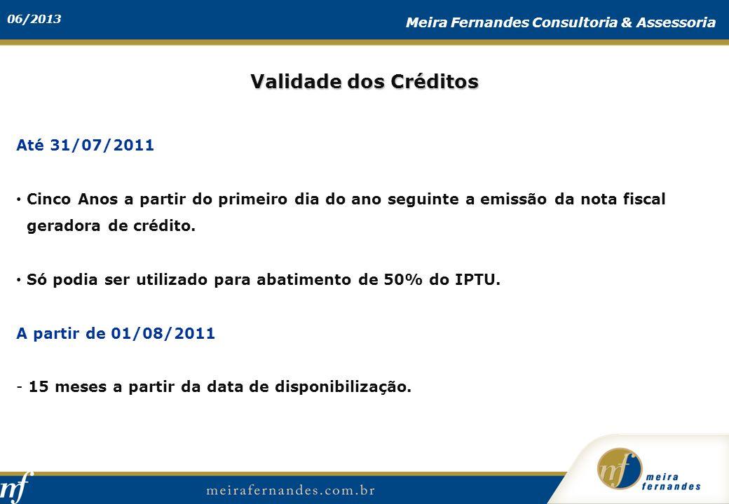 Validade dos Créditos Até 31/07/2011