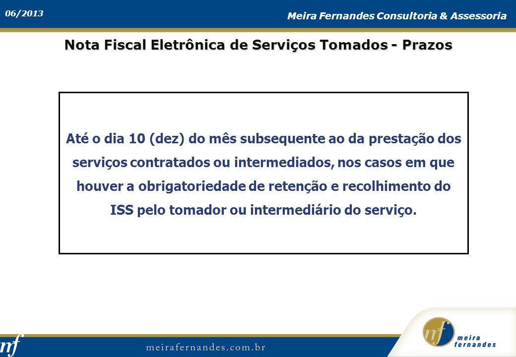 Nota Fiscal Eletrônica de Serviços Tomados - Prazos