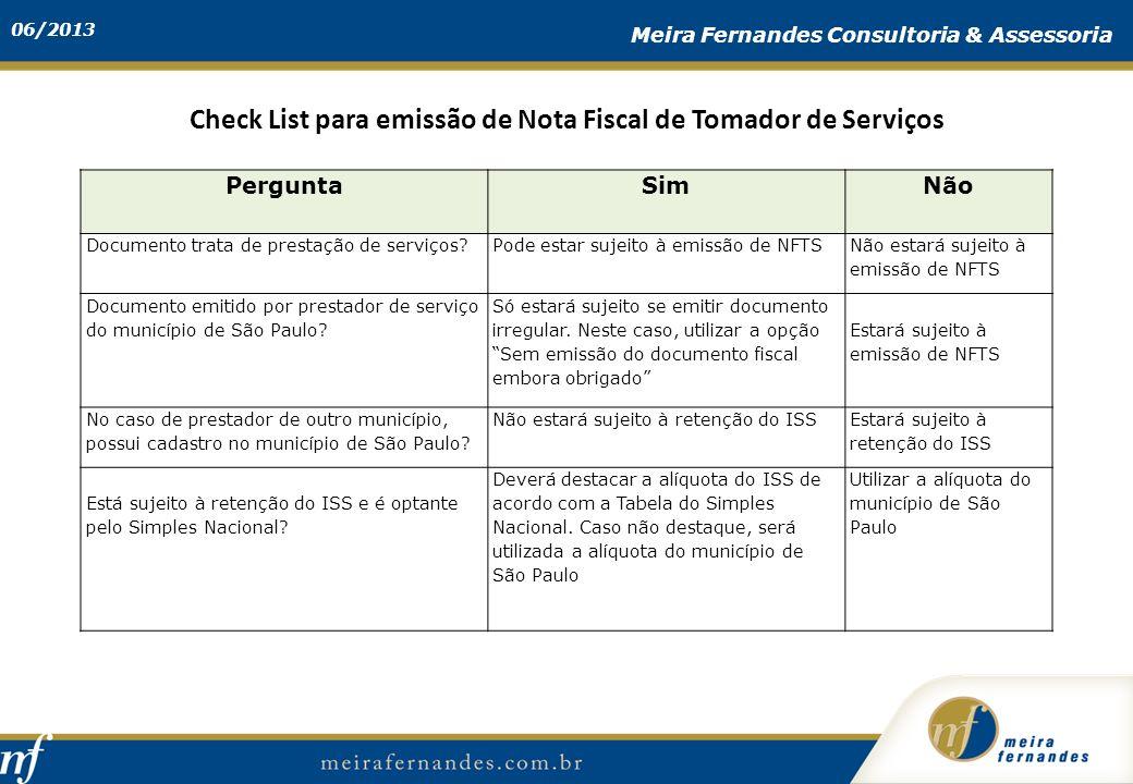 Check List para emissão de Nota Fiscal de Tomador de Serviços