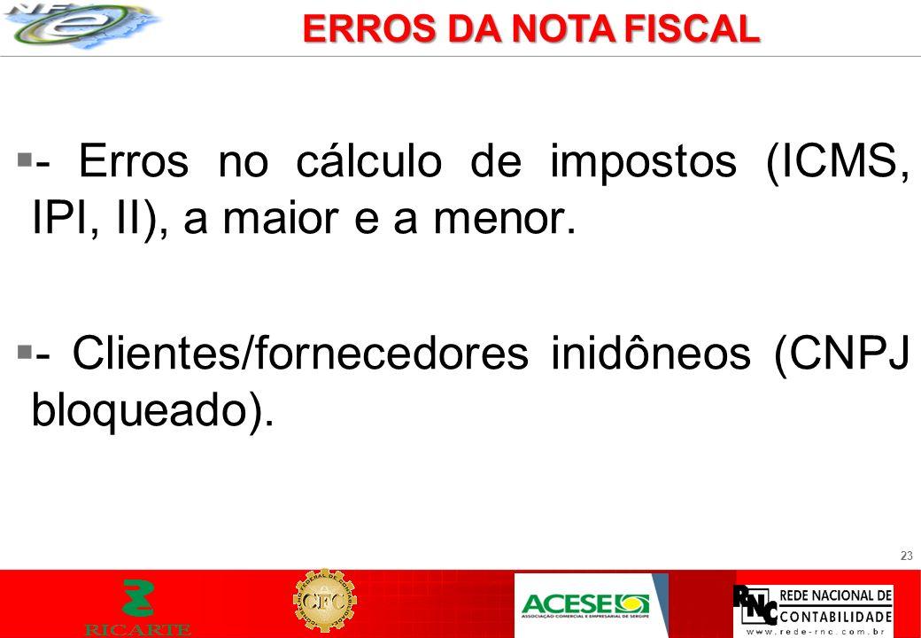 - Erros no cálculo de impostos (ICMS, IPI, II), a maior e a menor.