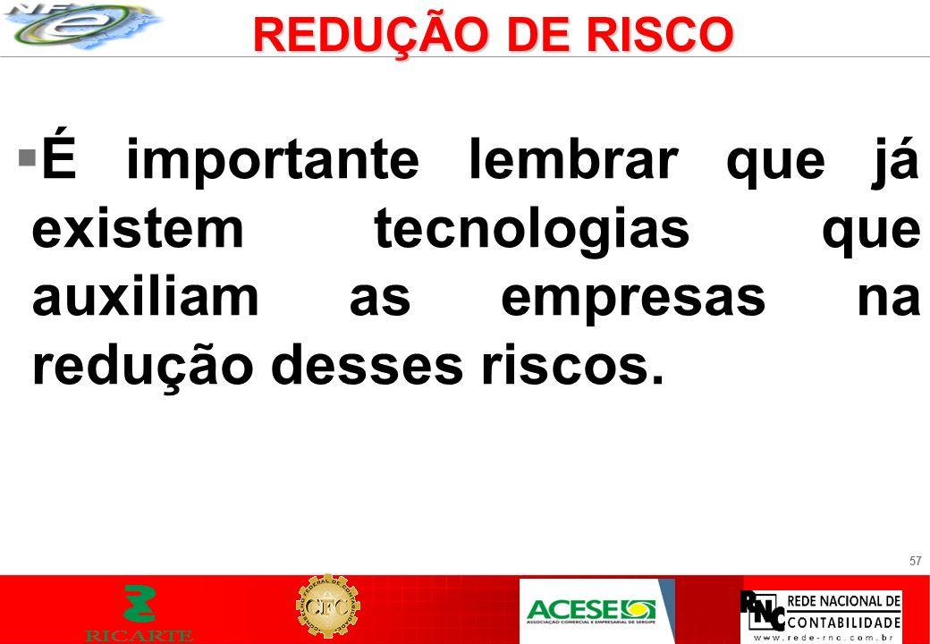 REDUÇÃO DE RISCO É importante lembrar que já existem tecnologias que auxiliam as empresas na redução desses riscos.