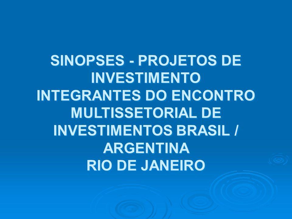 SINOPSES - PROJETOS DE INVESTIMENTO