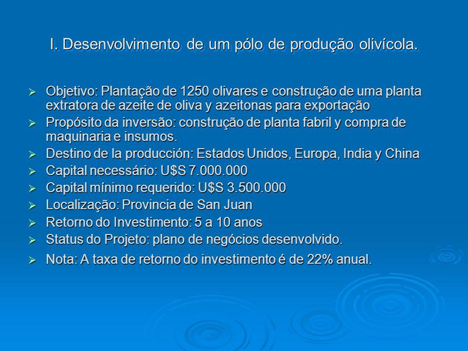 I. Desenvolvimento de um pólo de produção olivícola.