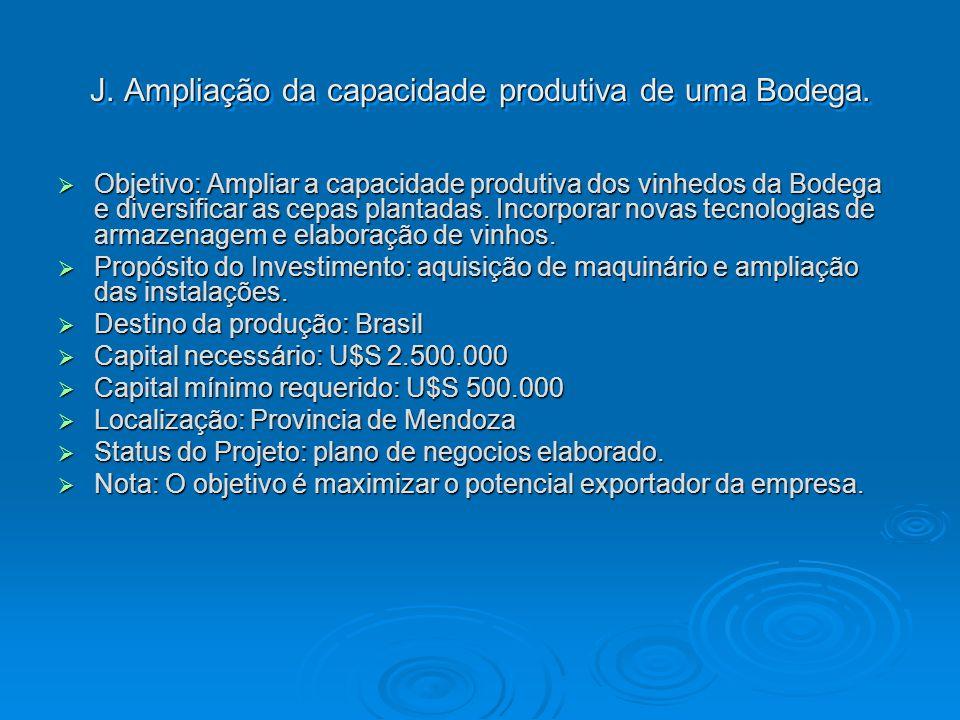 J. Ampliação da capacidade produtiva de uma Bodega.