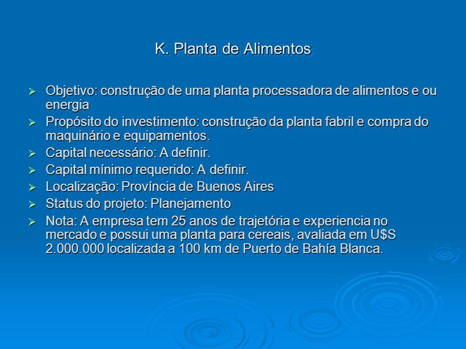 K. Planta de Alimentos Objetivo: construção de uma planta processadora de alimentos e ou energia.