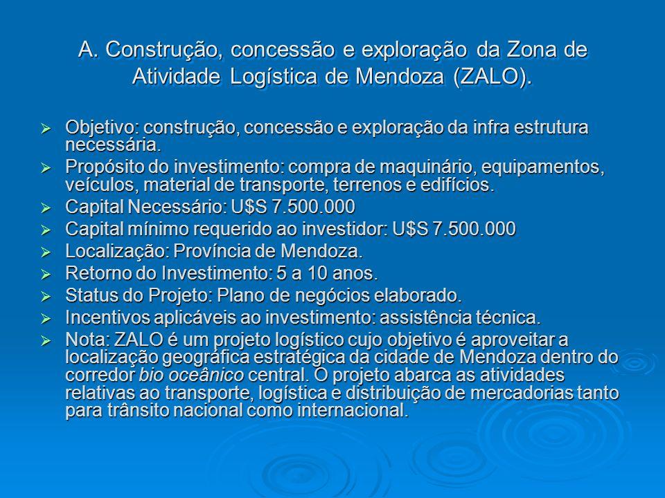 A. Construção, concessão e exploração da Zona de Atividade Logística de Mendoza (ZALO).