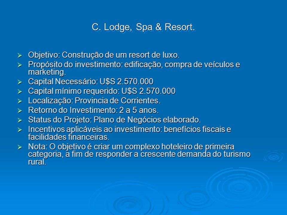 C. Lodge, Spa & Resort. Objetivo: Construção de um resort de luxo.