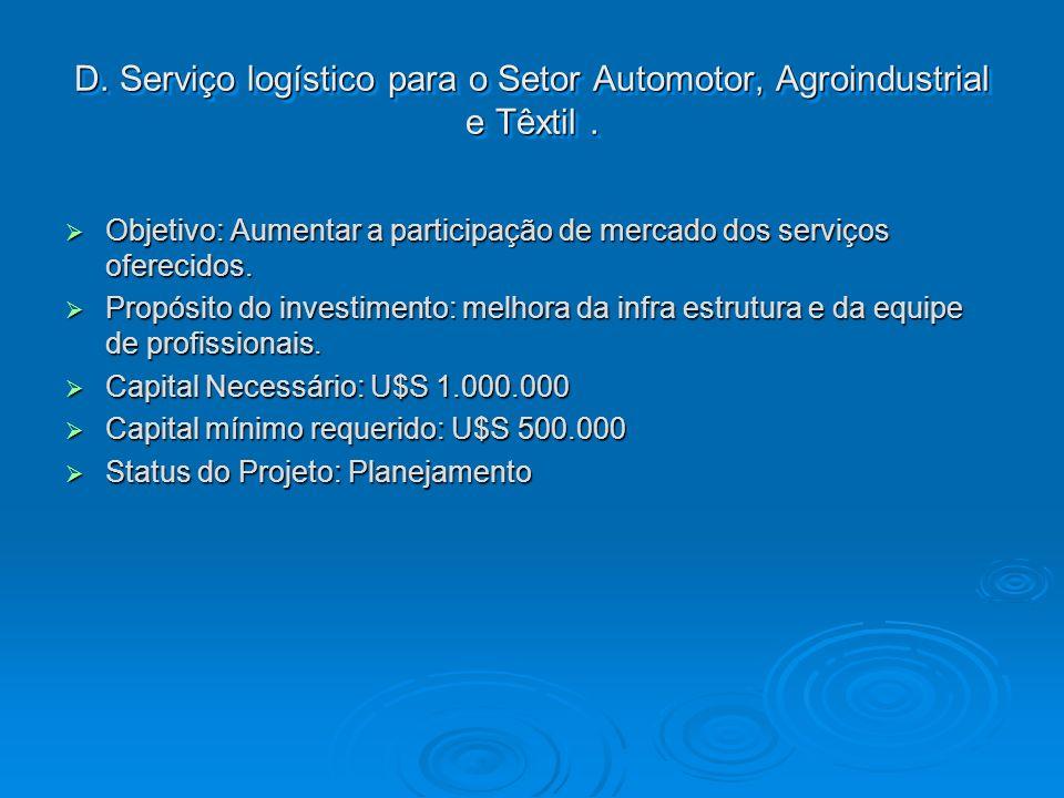 D. Serviço logístico para o Setor Automotor, Agroindustrial e Têxtil .