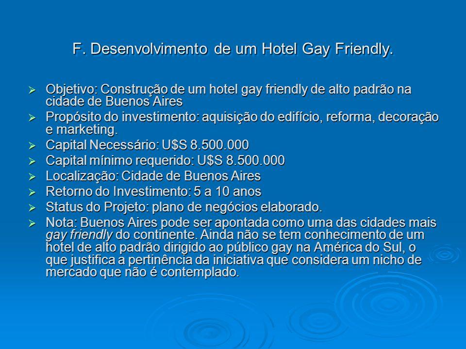 F. Desenvolvimento de um Hotel Gay Friendly.
