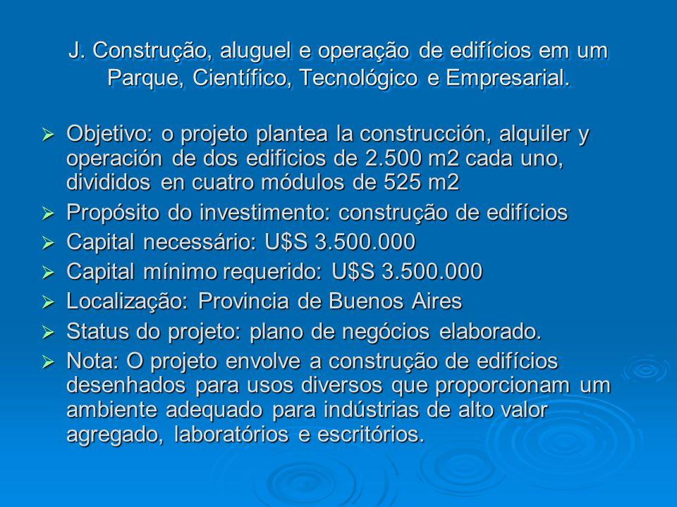 J. Construção, aluguel e operação de edifícios em um Parque, Científico, Tecnológico e Empresarial.