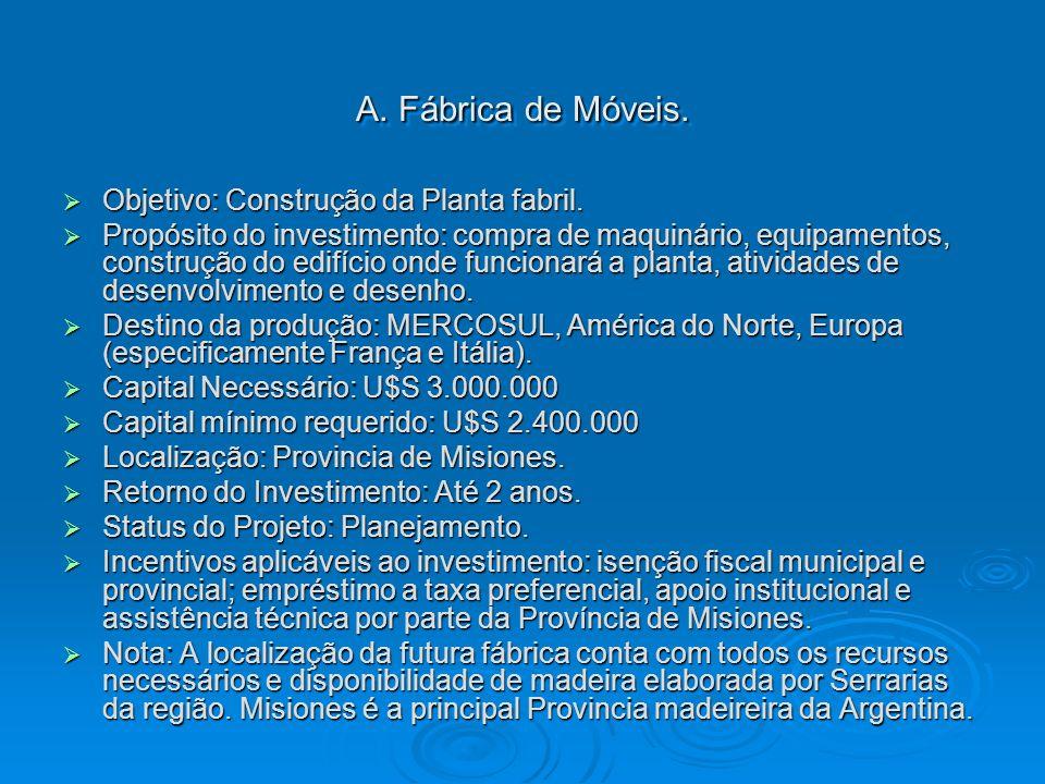 A. Fábrica de Móveis. Objetivo: Construção da Planta fabril.