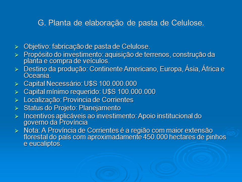 G. Planta de elaboração de pasta de Celulose.