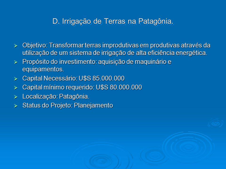 D. Irrigação de Terras na Patagônia.