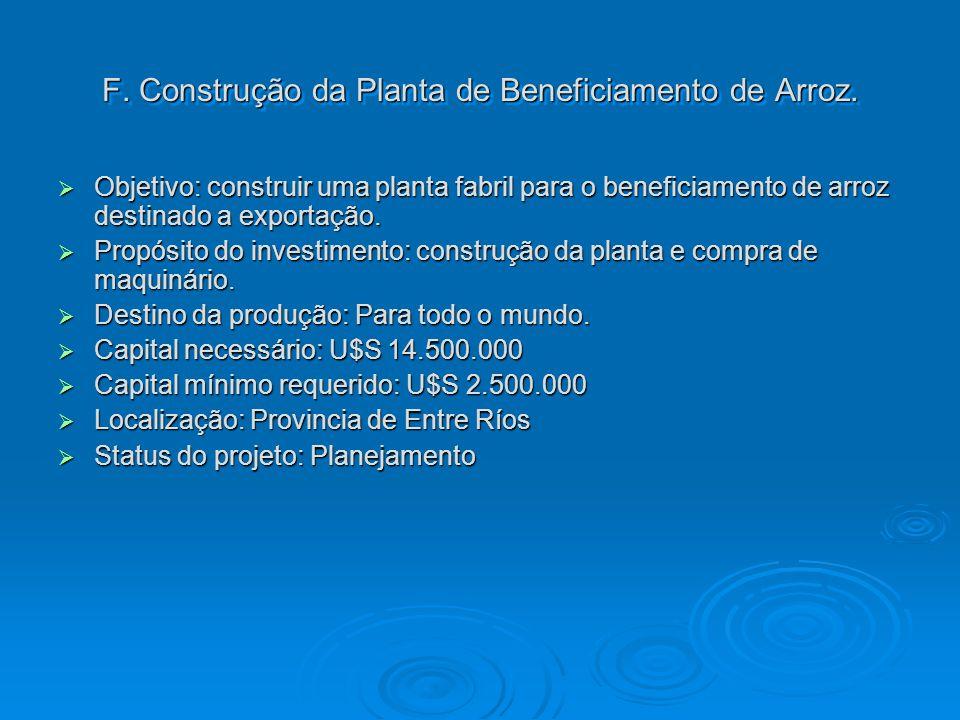 F. Construção da Planta de Beneficiamento de Arroz.