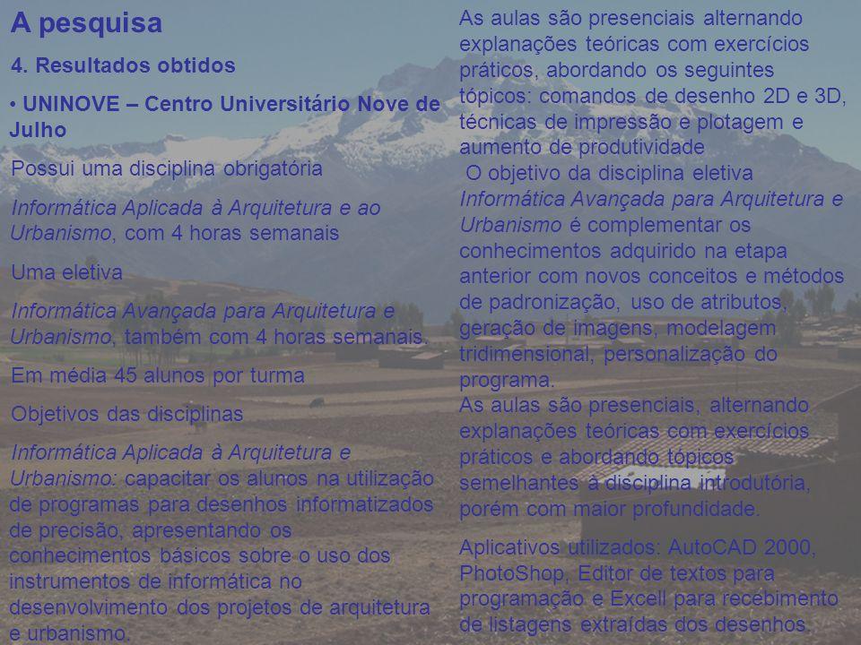 A pesquisa 4. Resultados obtidos. UNINOVE – Centro Universitário Nove de Julho. Possui uma disciplina obrigatória.