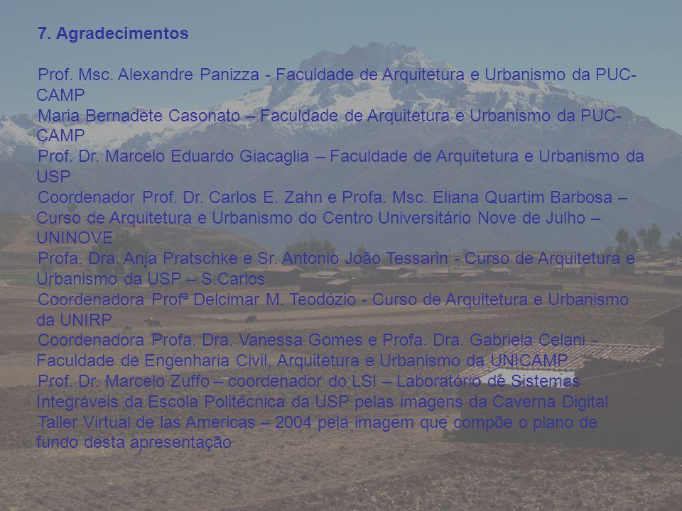 7. Agradecimentos Prof. Msc. Alexandre Panizza - Faculdade de Arquitetura e Urbanismo da PUC-CAMP.