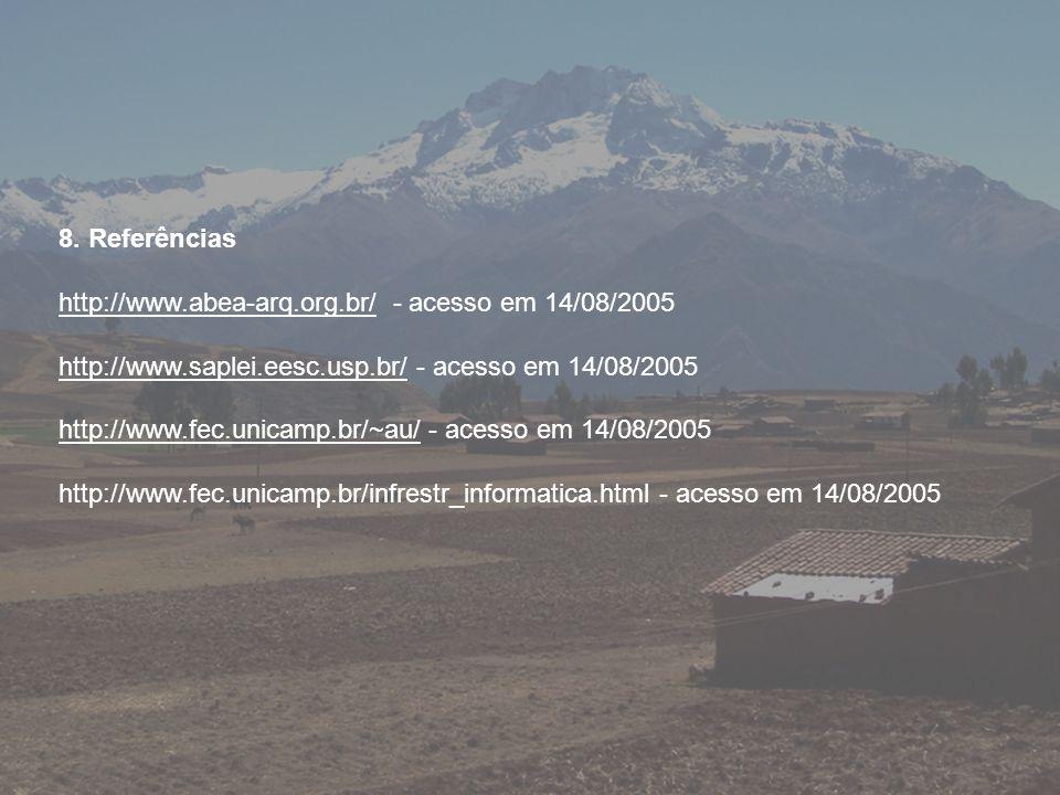 8. Referências http://www.abea-arq.org.br/ - acesso em 14/08/2005. http://www.saplei.eesc.usp.br/ - acesso em 14/08/2005.