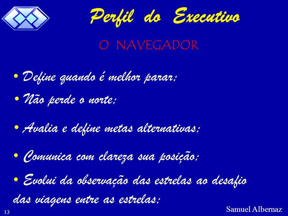 Perfil do Executivo Define quando é melhor parar; Não perde o norte;
