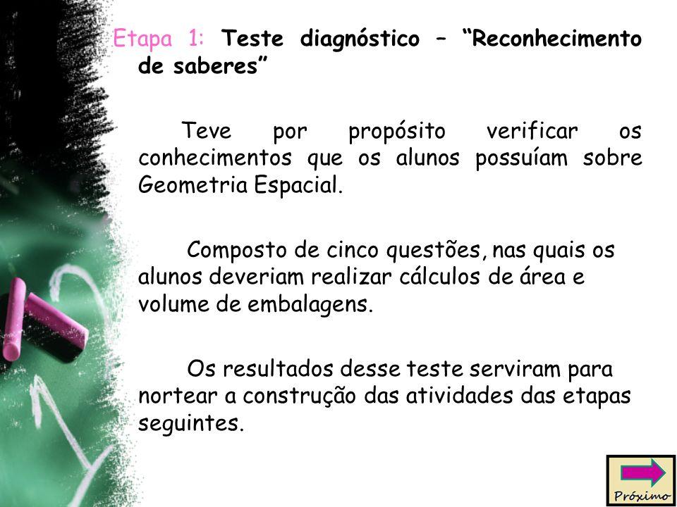 Etapa 1: Teste diagnóstico – Reconhecimento de saberes