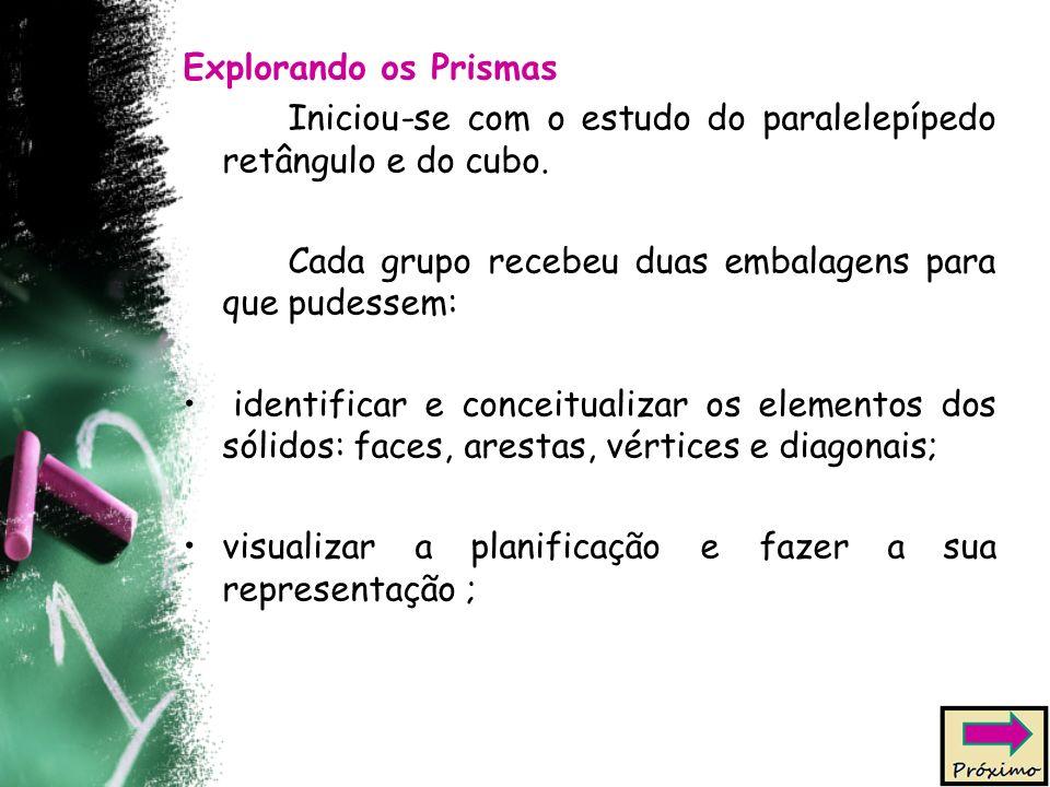 Explorando os Prismas Iniciou-se com o estudo do paralelepípedo retângulo e do cubo. Cada grupo recebeu duas embalagens para que pudessem: