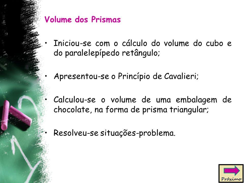 Volume dos Prismas Iniciou-se com o cálculo do volume do cubo e do paralelepípedo retângulo; Apresentou-se o Princípio de Cavalieri;