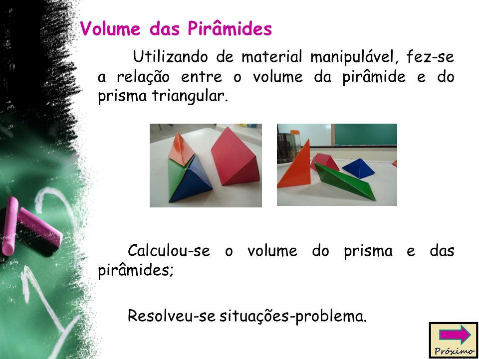 Volume das Pirâmides Utilizando de material manipulável, fez-se a relação entre o volume da pirâmide e do prisma triangular.