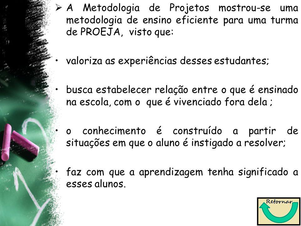 A Metodologia de Projetos mostrou-se uma metodologia de ensino eficiente para uma turma de PROEJA, visto que: