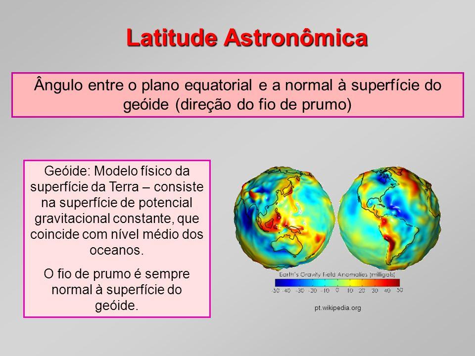 O fio de prumo é sempre normal à superfície do geóide.