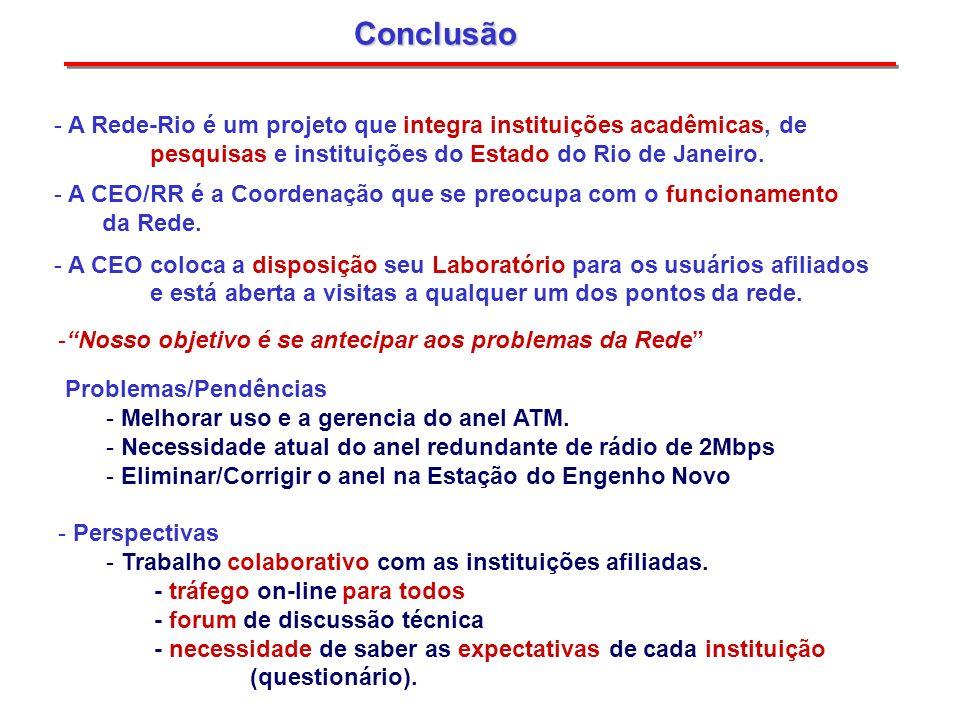 Conclusão A Rede-Rio é um projeto que integra instituições acadêmicas, de. pesquisas e instituições do Estado do Rio de Janeiro.