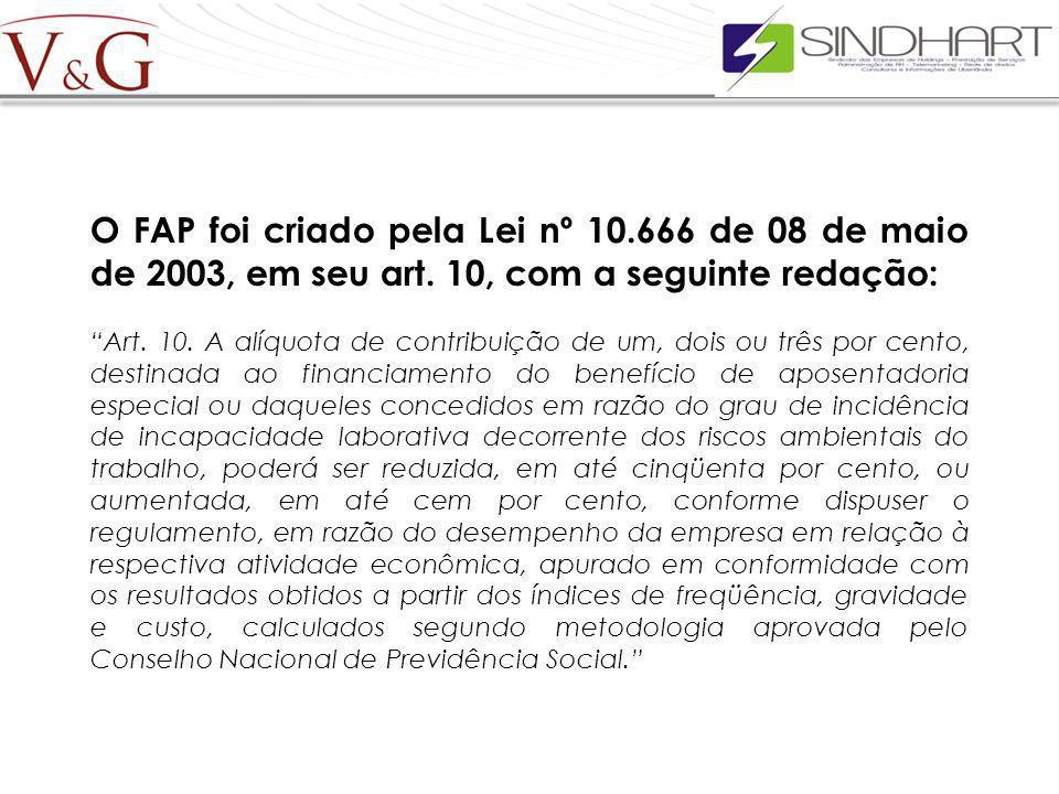 O FAP foi criado pela Lei nº 10. 666 de 08 de maio de 2003, em seu art