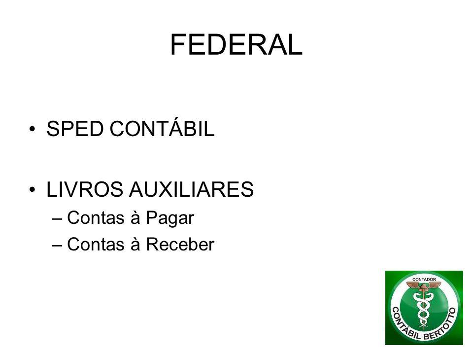 FEDERAL SPED CONTÁBIL LIVROS AUXILIARES Contas à Pagar