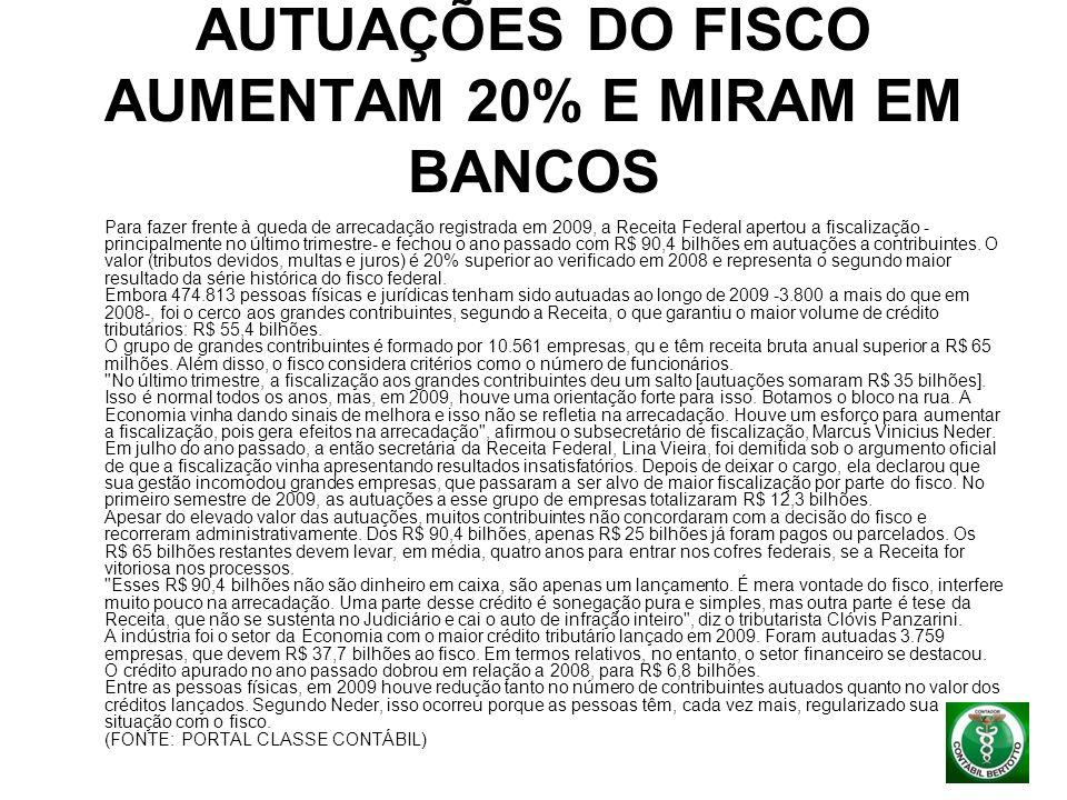 AUTUAÇÕES DO FISCO AUMENTAM 20% E MIRAM EM BANCOS