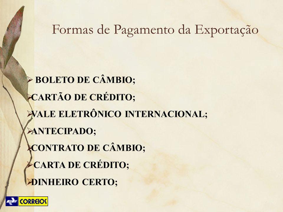 Formas de Pagamento da Exportação