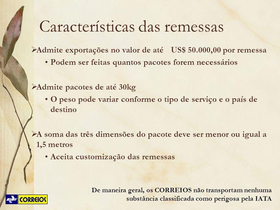 Características das remessas
