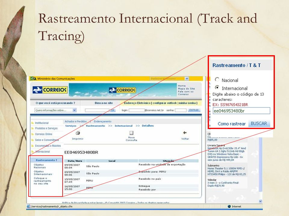 Rastreamento Internacional (Track and Tracing)