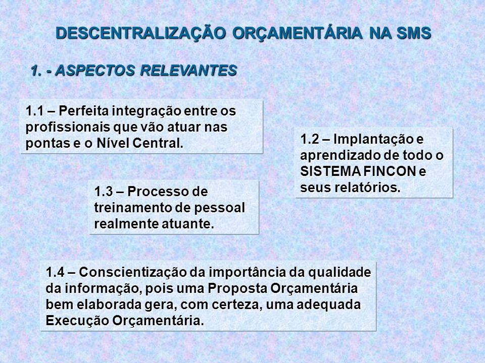 DESCENTRALIZAÇÃO ORÇAMENTÁRIA NA SMS