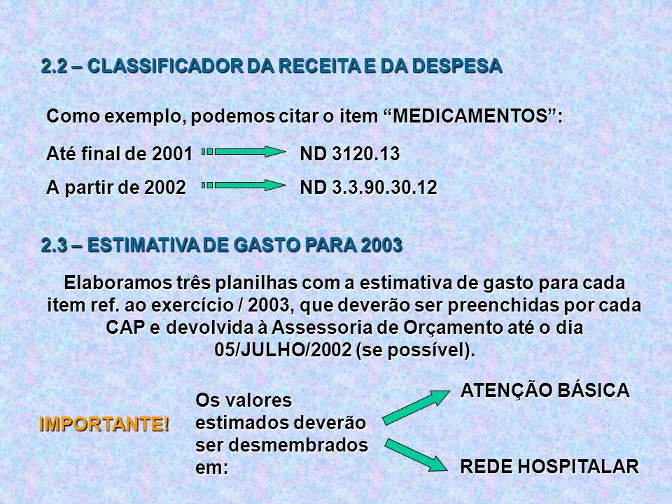 2.2 – CLASSIFICADOR DA RECEITA E DA DESPESA