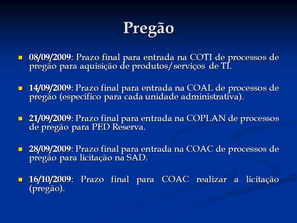 Pregão 08/09/2009: Prazo final para entrada na COTI de processos de pregão para aquisição de produtos/serviços de TI.