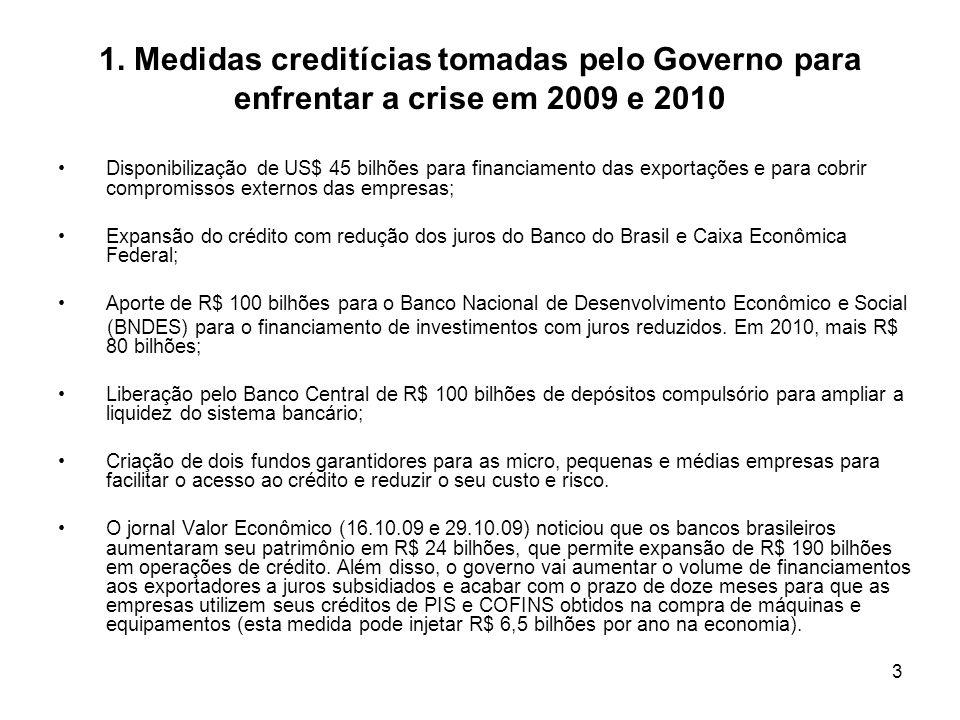 1. Medidas creditícias tomadas pelo Governo para enfrentar a crise em 2009 e 2010