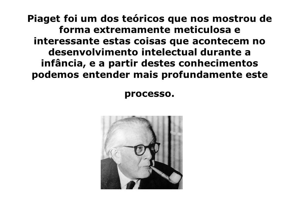 Piaget foi um dos teóricos que nos mostrou de forma extremamente meticulosa e interessante estas coisas que acontecem no desenvolvimento intelectual durante a infância, e a partir destes conhecimentos podemos entender mais profundamente este processo.