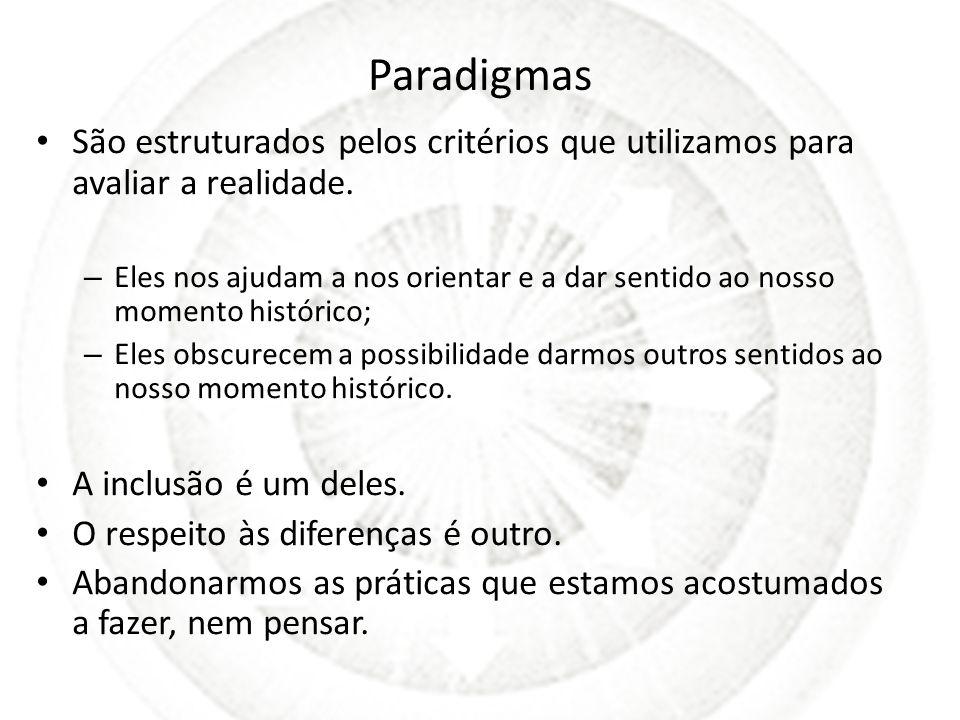 Paradigmas São estruturados pelos critérios que utilizamos para avaliar a realidade.